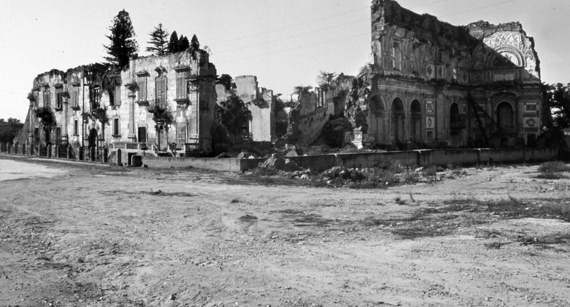 The Palazzo Filangeri-Cuto and the adjoining Mother Church were severely damaged, with only facades and walls standing.