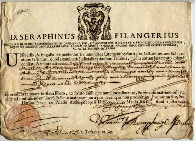 documento del cardinale Filangeri